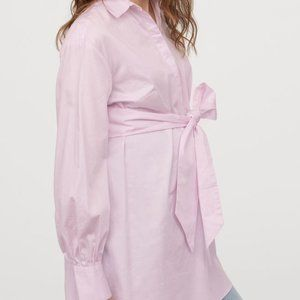 H & M | NWT  Pink Tie Mama Cotton Shirt MED
